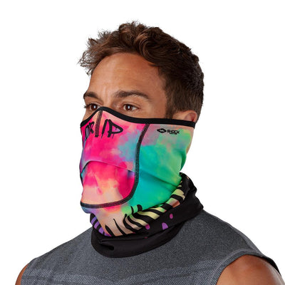 Drip Play Safe Neck-Face Gaiter– Male Model Wearing Protective Safety Face and Neck Covering - Left Angle