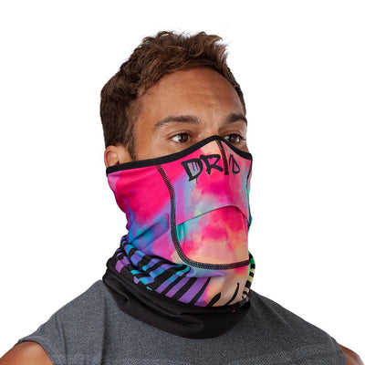 Drip Play Safe Neck-Face Gaiter – Male Model Wearing Protective Safety Face and Neck Covering - Right Angle