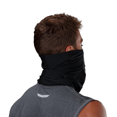 Black White Fang Play Safe Neck-Face Gaiter – Male Model Wearing Protective Safety Face and Neck Covering - Back of Head Angle