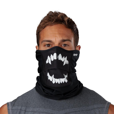 Black White Fang Play Safe Neck-Face Gaiter – Male Model Wearing Protective Safety Face and Neck Covering - Front Angle