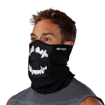 Black White Fang Play Safe Neck-Face Gaiter– Male Model Wearing Protective Safety Face and Neck Covering - Left Angle