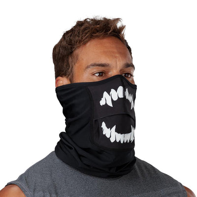 Black White Fang Play Safe Neck-Face Gaiter – Male Model Wearing Protective Safety Face and Neck Covering - Right Angle