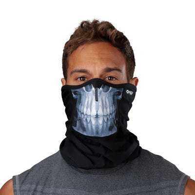 Skull Play Safe Neck-Face Gaiter – Male Model Wearing Protective Safety Face and Neck Covering - Front Angle
