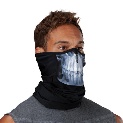 Skull Play Safe Neck-Face Gaiter – Male Model Wearing Protective Safety Face and Neck Covering - Right Angle
