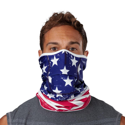 USA Stars & Stripes Play Safe Neck-Face Gaiter – Male Model Wearing Protective Safety Face and Neck Covering - Front Angle