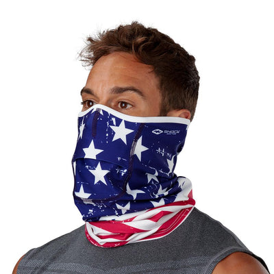 USA Stars & Stripes Play Safe Neck-Face Gaiter– Male Model Wearing Protective Safety Face and Neck Covering - Left Angle