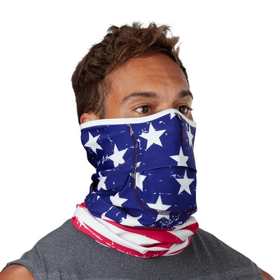 USA Stars & Stripes Play Safe Neck-Face Gaiter – Male Model Wearing Protective Safety Face and Neck Covering - Right Angle