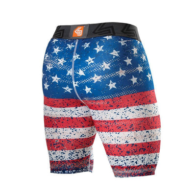Adult American Flag Core Compression Short with Bio-Flex Cup - Back View