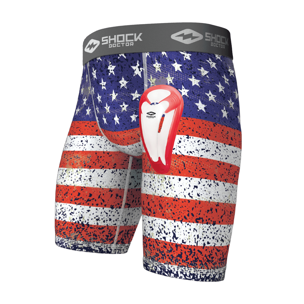 Shock Doctor Sport American Flag Compression Short w// Cup Adult medium Jock New