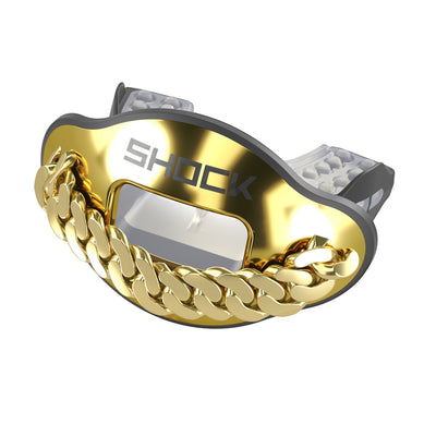 Shock Doctor Gold Chain 3D Max AirFlow Football Mouthguard and Lipguard - Front Angle Shot