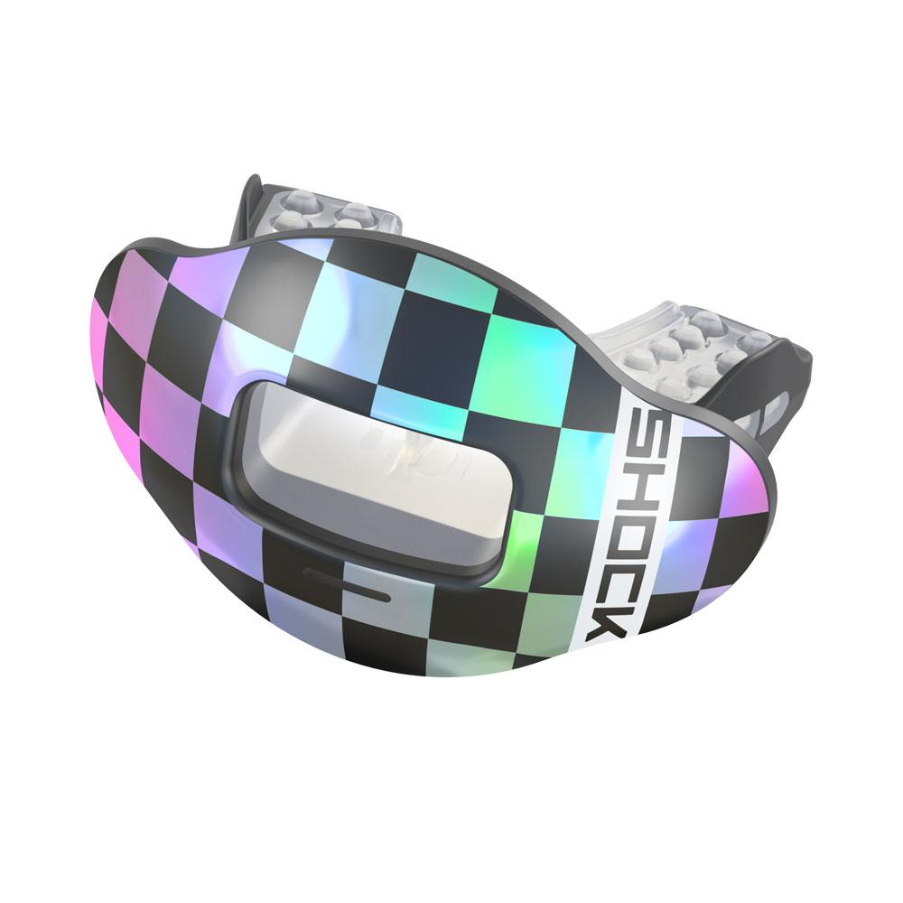 Chrome Iridescent Checker Max AirFlow Football Mouthguard