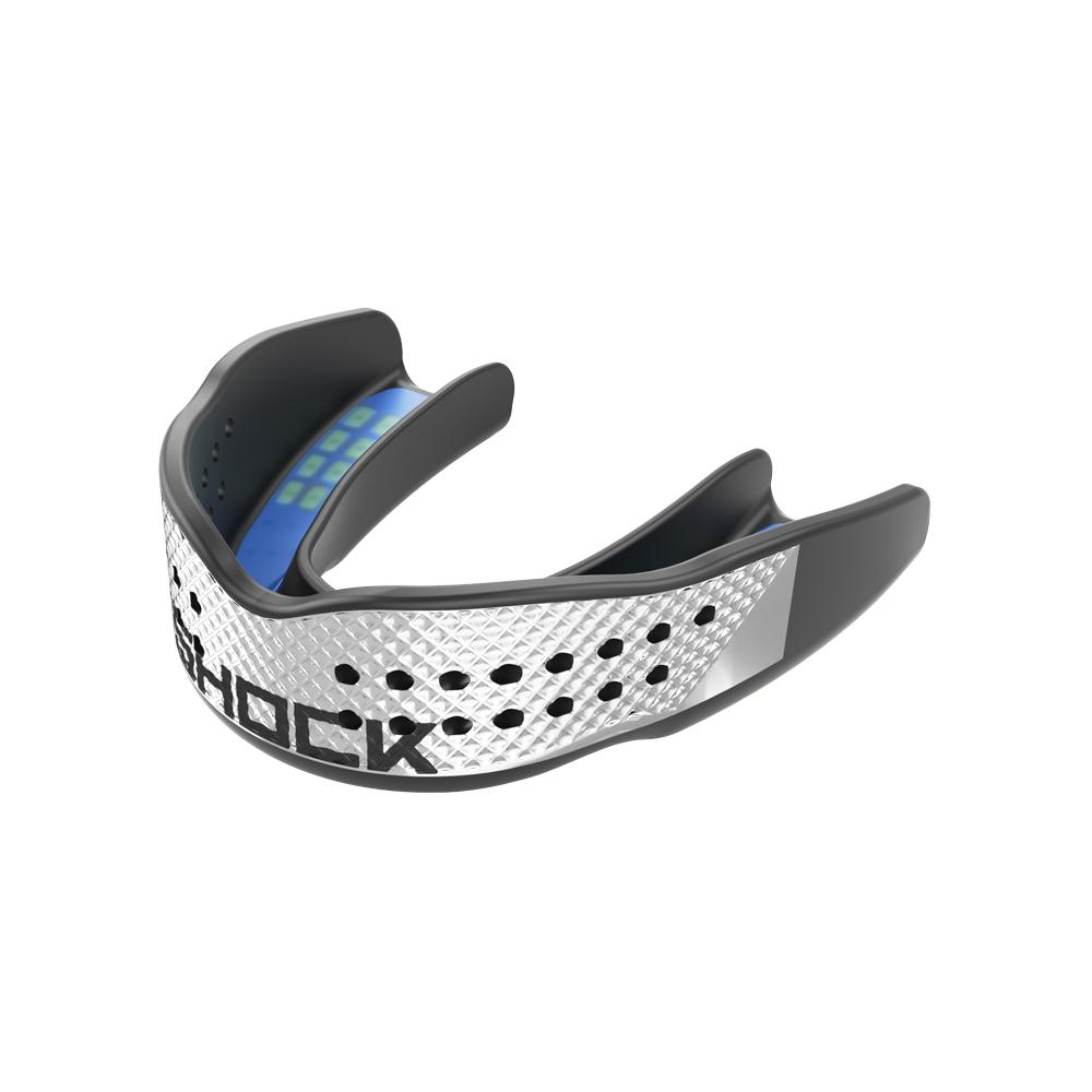 Shock Doctor Trash Talker Black Chrome Silver Mouthguard - Black/Chrome Silver - Front of Mouthguard