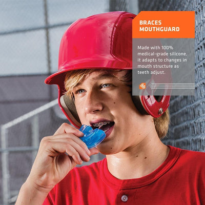 Blue Braces Strapless Mouthguard for Youth and Adult Athletes - Youth Baseball Player