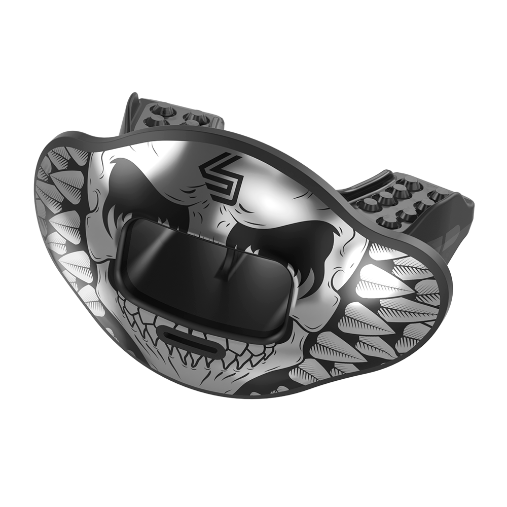 Chrome Angry Skull Max AirFlow Football Mouthguard