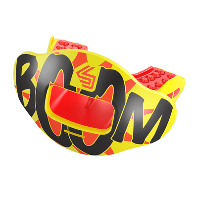 Boom Comic Print Max AirFlow Lipguard and Mouthguard - Red and Yellow - Side Angle