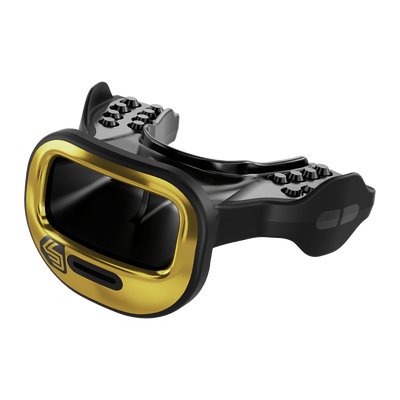 Gold Mutant Shock Doctor Mouthguard for Youth and Adult Athletes - Side View