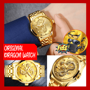 Original Lucky Dragon Watch for Men  + FREE CLASSIC WALLET + HD VISION + STEREO EARPHONES