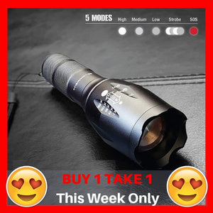Waterproof Tactical Flashlight w/ FREE Rechargeable Batteries and Charger (BUY 1 TAKE 1) ⭐⭐⭐⭐⭐