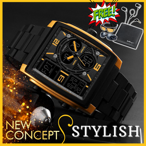 CLASSIQUE DEAL SKMEI SQUARE ANALOG DIGITAL WATCH +  SLIM WALLET + HD VISION + STEREO EARPHONES