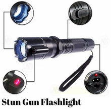 Load image into Gallery viewer, 3-in-1 Self Defense Stun Gun Flashlight + FREE Pepper Spray
