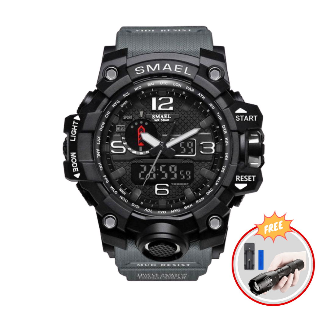SMAEL ARMY MULTIFUNCTIONAL WATCH + FREE TACTICAL FLASHLIGHT W/ BATTERY & CHARGER