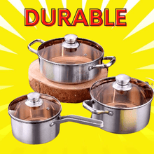 Load image into Gallery viewer, 3 SET Gourmet Stainless steel cookware