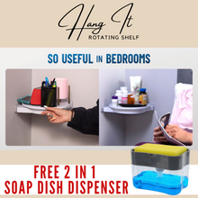 Load image into Gallery viewer, Hang It Rotating Shelf + FREE 2 IN 1 SOAP DISH DISPENSER ⭐⭐⭐