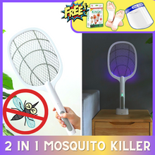 Load image into Gallery viewer, 2 IN 1 LAMP & RACKET ELECTRIC MOSQUITO KILLER + FOOT DETOX PADS & FACE SHIELD🦟🦟🦟