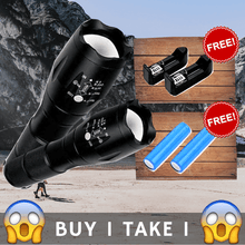 Load image into Gallery viewer, Waterproof Tactical Flashlight w/ FREE Rechargeable Batteries and Charger (BUY 1 TAKE 1) ⭐⭐⭐⭐⭐