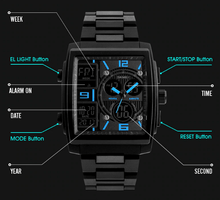 Load image into Gallery viewer, CLASSIQUE DEAL SKMEI SQUARE ANALOG DIGITAL WATCH +  SLIM WALLET + HD VISION + STEREO EARPHONES