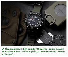 Load image into Gallery viewer, SMAEL ARMY MULTIFUNCTIONAL WATCH + FREE TACTICAL FLASHLIGHT W/ BATTERY & CHARGER