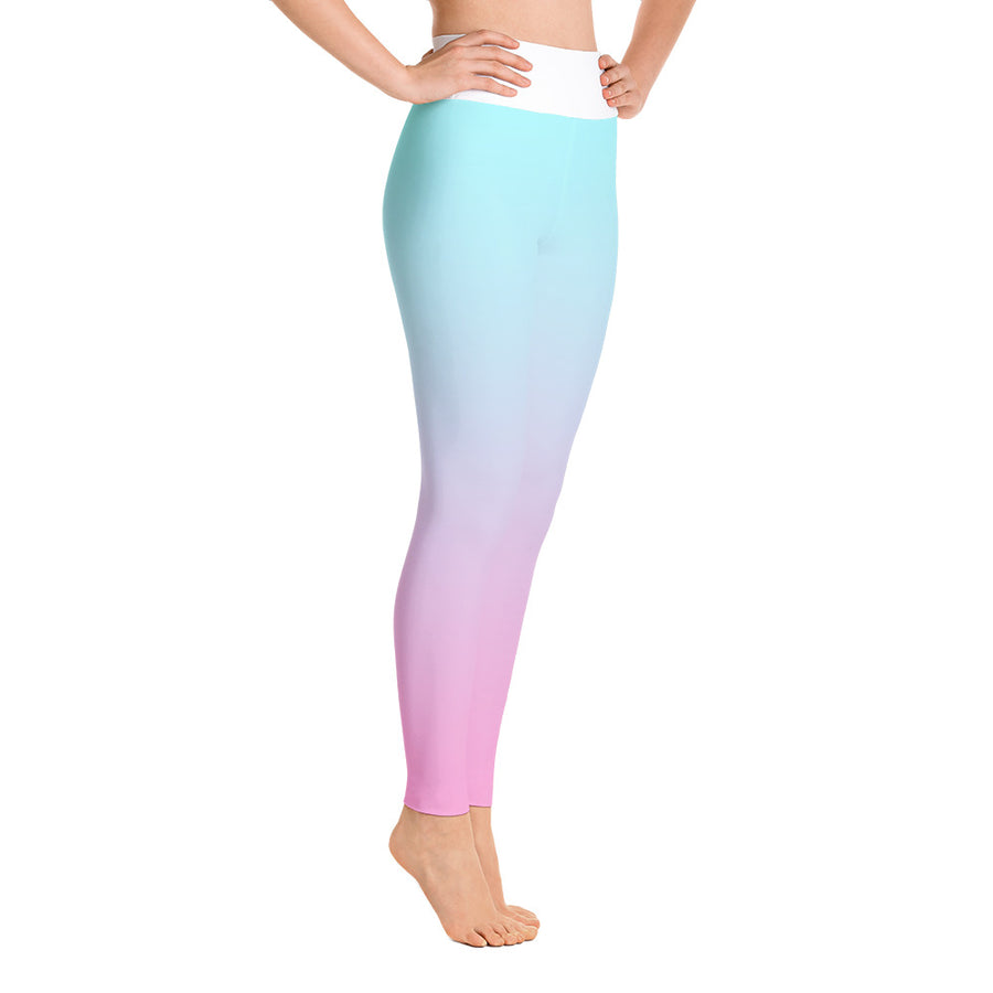 . High Waist Blue Fluff Leggings