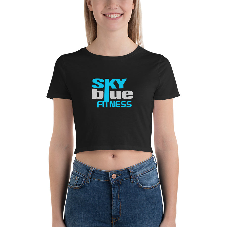 1. Sky Blue Black  Crop Tee