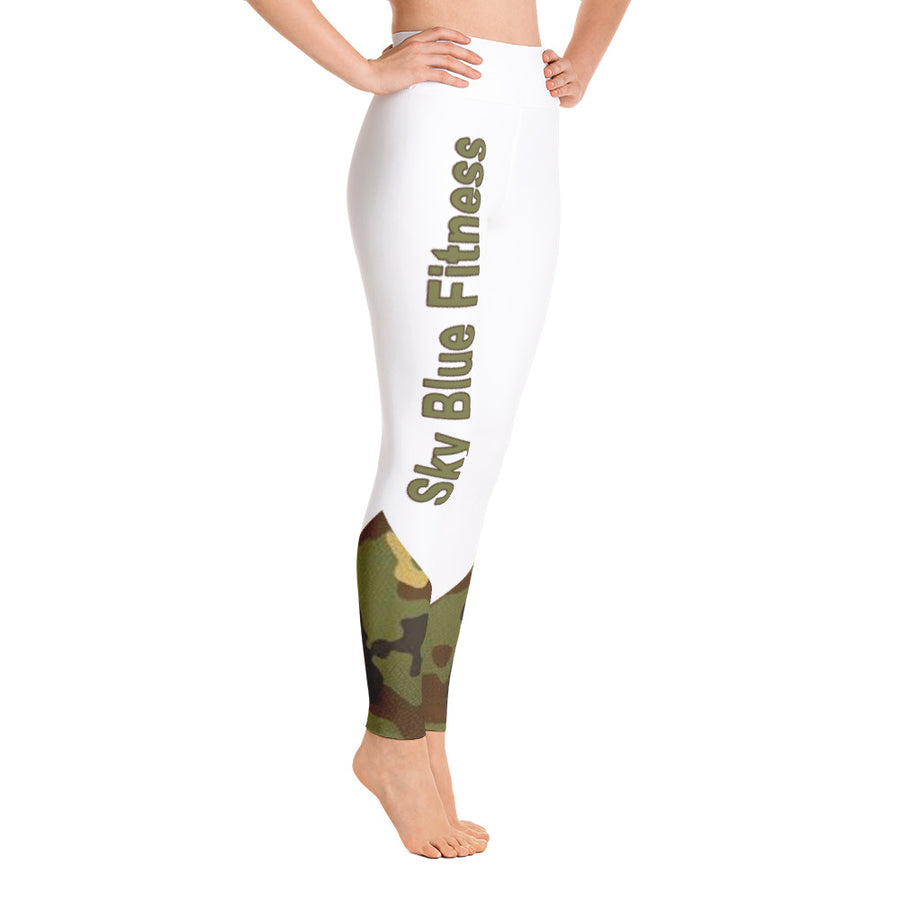 High Waist Sky Blue Fitness Army Leggings