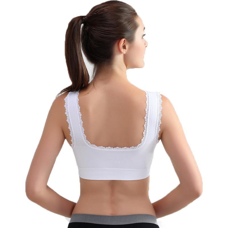 Floral Trimming Breathable Sports Bra