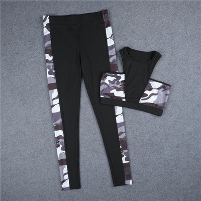 2 Piece Camouflage Compression Yoga Set