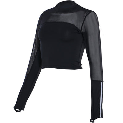 Long Sleeve Meshed Active Crop