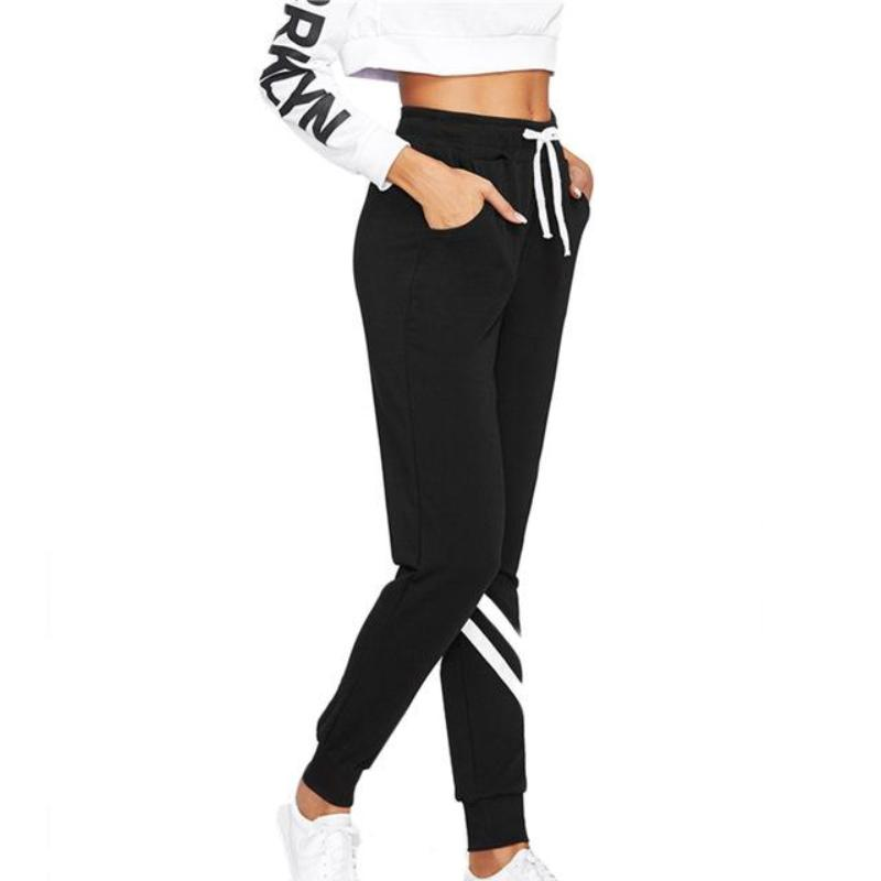 Dual Stripe Elastic Waist Fitness Sweatpants