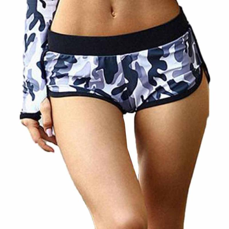 Breathable Camouflage Mid-Waist Fitness Shorts