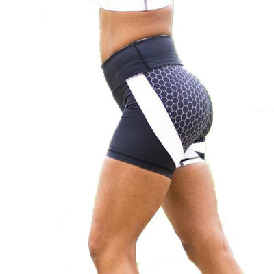Honeycomb Print Active Workout Shorts