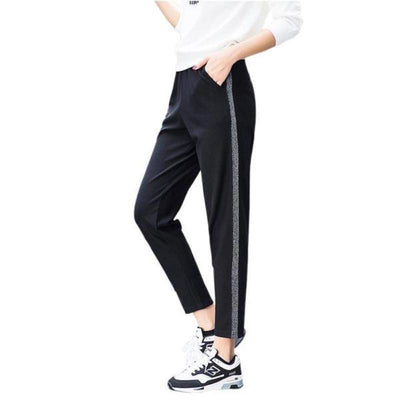 Silver Striped Mid-Waist Fitness Sweatpants