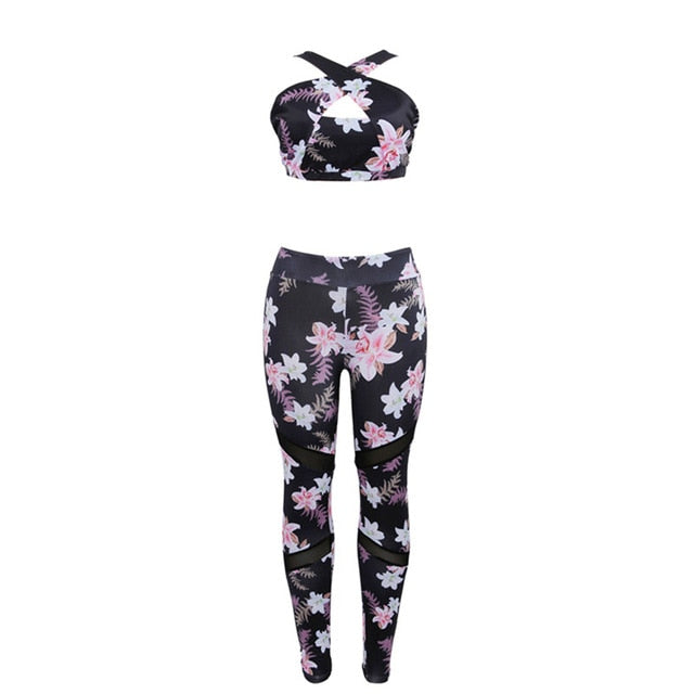 Women 2 Piece Yoga Set  Gym Fitness Clothes Floral Print Bra+Long Pants Running Tights Jogging Workout Yoga Leggings Sport suit