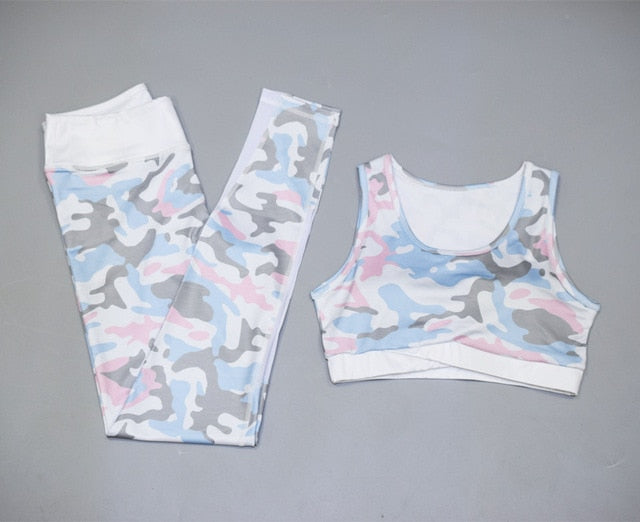 2 Piece Yoga/Gym Camo Gym Legging Set