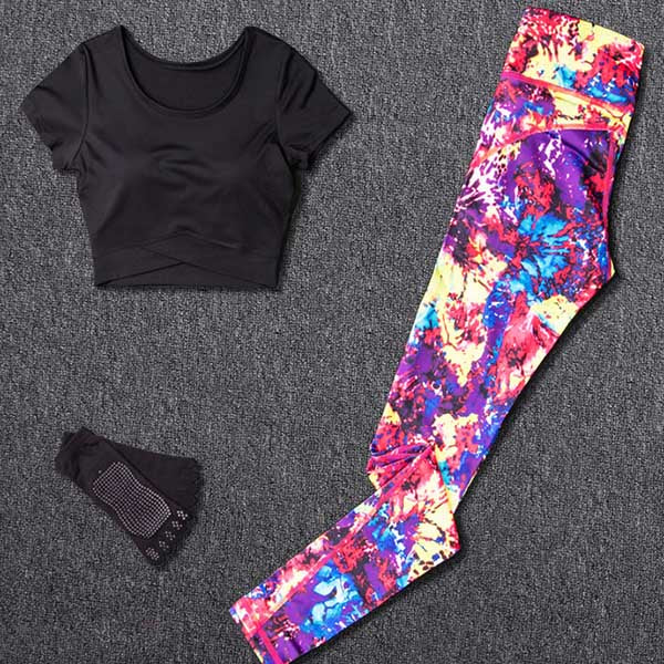 Women Yoga Sets Sport Suit Fitness Sport Wear Running Leggings Top T-shirt+Yoga Socks+Workout Gym Pants Lose Weight Sportswear