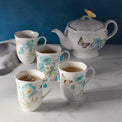 Butterfly Meadow Turquoise 4-piece Mug Set