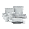 French Carved Square 16-Piece Dinnerware Set