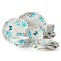 Deals on Lenox Butterfly Meadow Toile Turquoise 16-piece Dinnerware Set