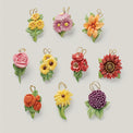 Fall Flowers 10-Piece Ornament Set