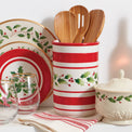 Holiday Handpaint Stripe Utensil Crock Set