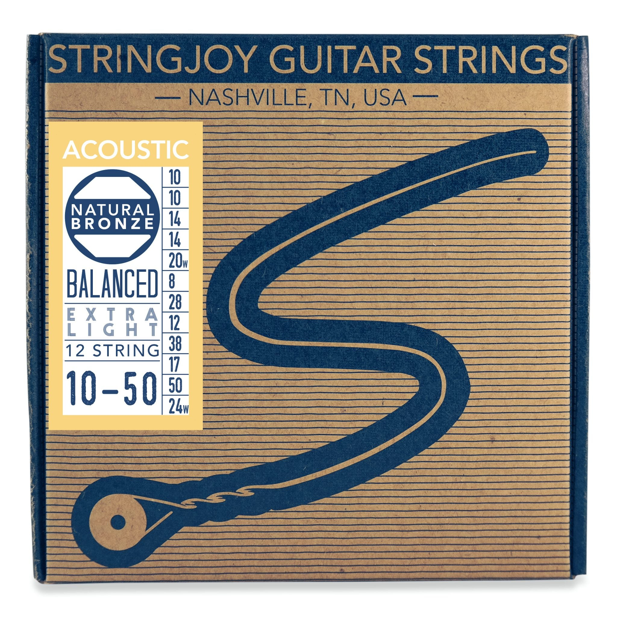 Stringjoy Naturals - Extra Light Gauge (10-50) Phosphor Bronze Acoustic Guitar Strings